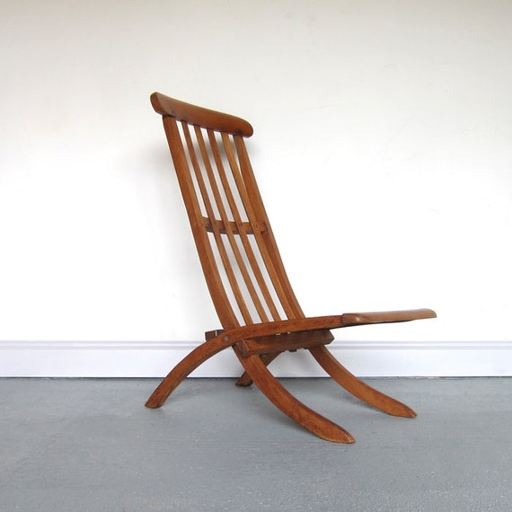 Antique Folding Ships Liner Chair Old Pine 1920s