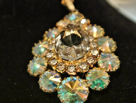 Rhinestone Rivoli Pendant Necklace