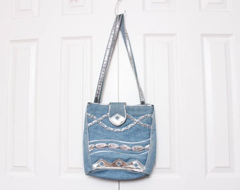 Vtg 80s Jean Denim Silver Braided Urban Hip Hop Handbag Purse Shoulder Bag