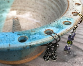 Ceramic Jewelry Bowl - Earring Bowl - Jewelry Organizer Speckled Turquoise and Cream overlap In Stock Ships Now