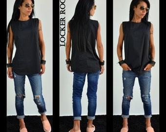 Black Shirt, Cotton Shirt, Plus Size Shirt, Summer Top, Crop Top, Sleeveless Top, Women Shirt, Summer Shirt, Tunic Shirt, Black Tank Top