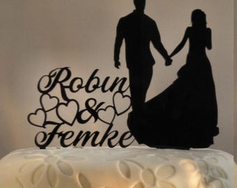 Personalized Laser cut Acrylic Wedding cake topper Holding Hands