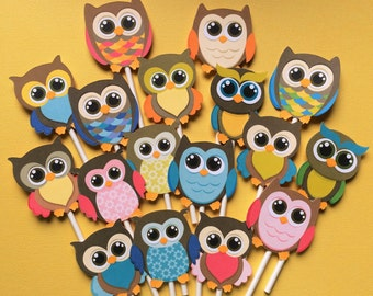 Owls cupcake toppers, owls cake toppers, owls party, cupcake toppers owls, funny owls toppers, cute owls party supply, Owls