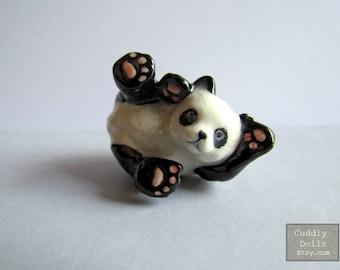 Adorable Laying PANDA Bear Little Animal Miniature Ceramic Porcelain Animal Figurine Decor White Black Bear Panda Porcelain Collectible A2