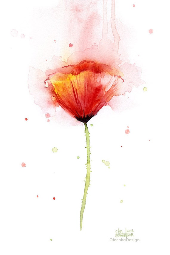 Poppy watercolor abstract red flower art print poppies mightylinksfo