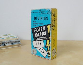Vintage Teach Me Division Flash Cards - Boxed Set 1958