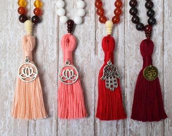 Tassel Necklace, Mala Bead, Mala Necklace, 108 Mala Bead, Bohemian Necklace, Seven Chakra Protection Mala Bead, Healing Stone, Yoga Necklace