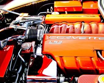 Chevrolet Corvette LS3 Engine Car Photography, Automotive, Auto Dealer, Muscle, Sports Car, Mechanic, Boys Room, Garage, Dealership Art