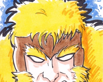 """Sabretooth X-Men 2 1/2"""" x 3 1/2"""" artist trading card ACEO"""