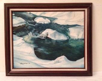 Vintage Winter Stream Impressionist Landscape Painting Wood Frame