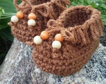 Handmade/Knit/Crochet Newborn Moccasins - Baby Slippers