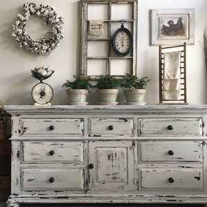 distressed white furniture. SOLD! ***. Large Farmhouse 9 Drawer Dresser Or Buffet Made By Broyhill Distressed White Furniture U