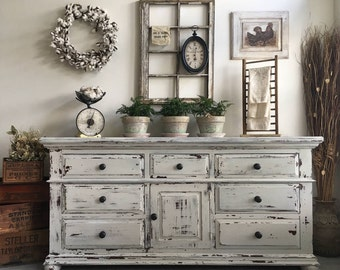 SOLD! ***. Large Farmhouse 9 Drawer Dresser or Buffet made by Broyhill ~ Chippy White Distressed Furniture