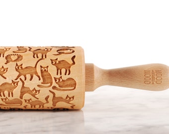 FUNNY CATS - embossed, engraved rolling pin for cookies