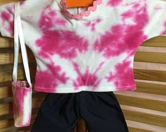 "Clothing for 18"" Dolls - Tie Dyed Shirt and purse with blue shorts"