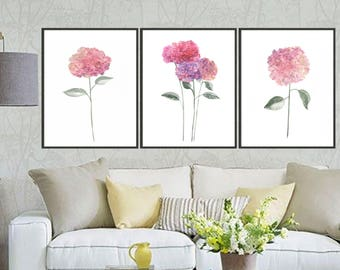 Set of 3 hydrangea art print hydrangea painting, Flower painting, Floral art print, Botanical art