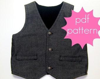 Reversible Vest PDF Sewing Pattern - nb - 5t or 6 - 14