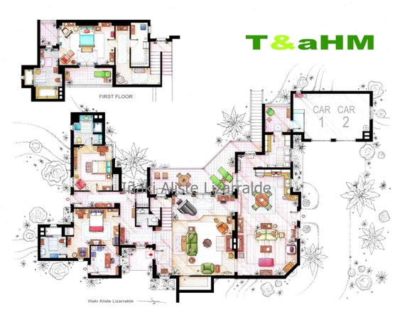 Floorplan of Charlie Harpers beach house from