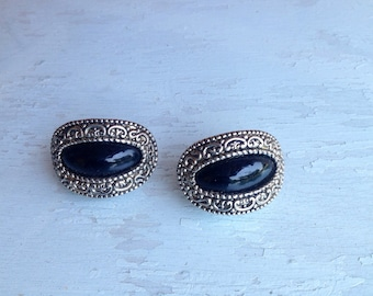 Bold vintage silver and black clip on earrings