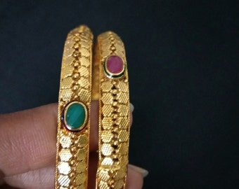Indian Gold Finish Bangles / Bollywood Bangles / Indian Golden Bracelet / Set of 2 Bangles / Red Green Stone Bangles / Gift for Her..