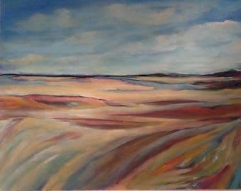 Seascape landscape painting original seagrass ocean scene30x24 canvas