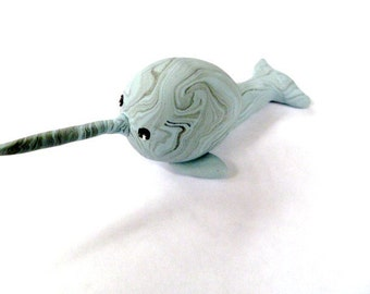 Mini Marble Friends Narwhal in light blue and black swirl