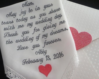 Personalized Wedding Handkerchief. Choose This Verse Or Use Your Own. Free Gift Box With Each One That You Order.
