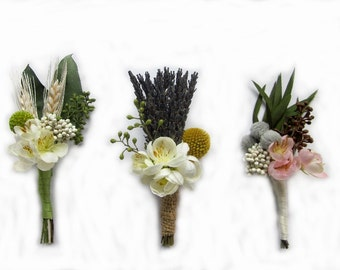 "Dried Flowers Boutonniere with Craspedia -Goomsman - Gooms Bestman - Or Pin Corsage ""Your Choice"" on each. MADE TO ORDER!"
