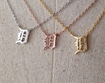 D Detroit Necklace, 14k Gold plated/Rose Gold/Silver, Dainty Necklace