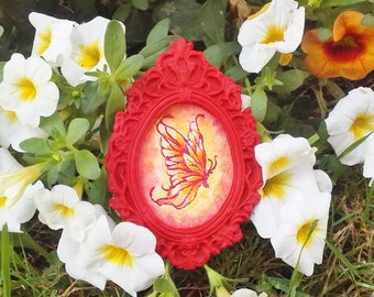 Flame Butterfly Fire Fairy Miniature Dollhouse Painting