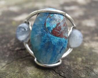 Natural Shattuckite Moonstone Sterling Silver RING Size 8.5 -  Sterling Silver Ring - Shattuckite Ring - Ring size 8 9 - Natural Shattuckite