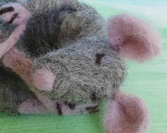 Sleeping Rat - Needle felted 100% wool