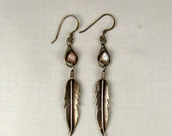 Native American Style MOP Sterling Feather Dangle Earrings