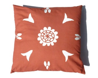 Orange Pillow 20x20 Moroccan Suzani African