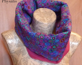 Collar, collar, colorful, pattern circles and flowers, green, yellow, blue, red, black, pink, purple background