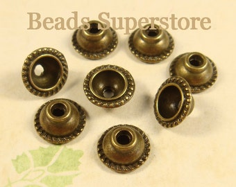10 mm x 5 mm Antique Bronze Dome Shape Bead Cap - Nickel Free, Lead Free and Cadmium Free - 20 pcs