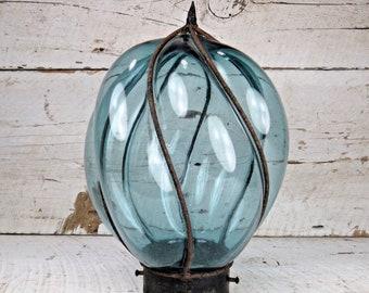 Antique en fer forgé à la main soufflé en verre lampe légère nuance bleu Cobalt