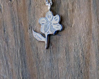Silver Flower Necklace-Flower Pendant-Silver Flower-Sterling Silver Flower Necklace-Valentines Day Gift