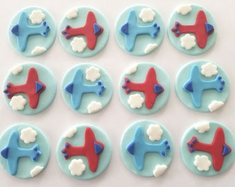 12 Fondant cupcake toppers--airplanes