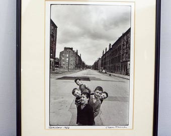Vintage Signed Original Chaim Kanner Photograph Glasgow Children & Street 1966, One of A Kind Housewarming Gift Idea, Modern Home Wall Decor