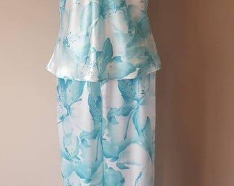 S / Pajama Set / Blue Sky Pattern / Vintage / Sleeveless / Small