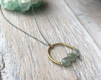 Aquamarine Necklace, Gold Horseshoe Necklace