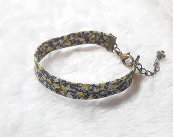 Liberty bracelet bronze grey & yellow flowers