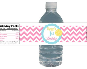 Pink Chevron Lemonade Party 15ct Waterproof Bottle Labels Customized Birthday Party Baby Shower