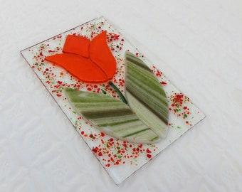Fused Glass Tulip Suncatcher, Orange Tulip, Fused Glass Flower Sun Catcher, Orange Fused Glass Flower, Spring Sun Catcher, Garden Art
