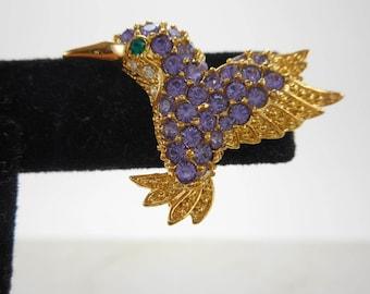 Vintage Hummingbird Brooch,Purple Rhinestone Brooch,Bird Pin
