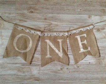 First 1st Birthday One Shabby Chic Burlap Banner Bunting garland