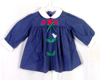 vtg Blue White Swiss Dot Baby Dress Flower and Bird Appliques Toddler 12 months