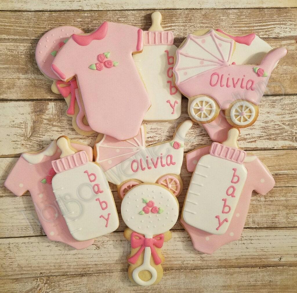 12 Baby Girl Sugar Cookies Baby Girl Shower Dessert Girl