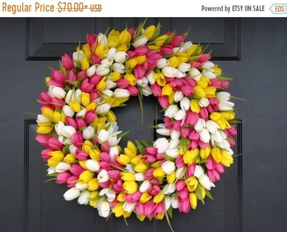SUMMER WREATH SALE Custom Spring Wreath, Spring Decor, Mother's Day Wreath,  Wall Decor, Custom Colors, Spring Decoration  The Original Tuli